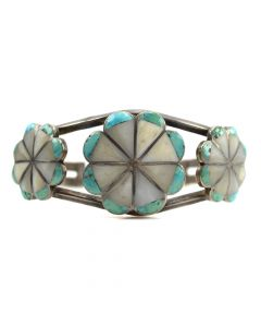 Zuni Mother of Pearl and Turquoise Channel Inlay Silver Bracelet c. 1960s, size 6.5
