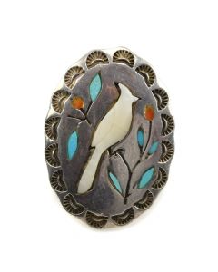 Navajo Multi-Stone Inlay and Silver Stamped Ring with Cardinal Design c. 1950s, size 3.5