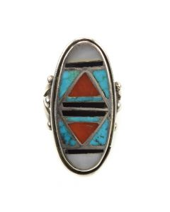Zuni Multi-Stone Channel Inlay and Silver Ring c. 1940s, size 6