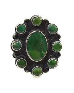 Navajo Turquoise and Silver Ring - 9 Stones, c. 1940s, size 5