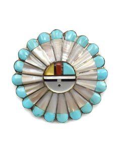 "Zuni Multi-Stone Channel Inlay and Silver Sunface Kachina Pin/Pendant c. 1980s, 1.5"" diameter"