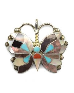 """Zuni Multi-Stone Channel Inlay and Silver Butterfly Pendant c. 1950s, 2"""" x 2"""""""