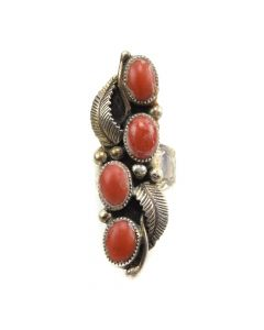 Navajo Coral and Silver Stamped Ring with Feather Design c. 1960s, size 6