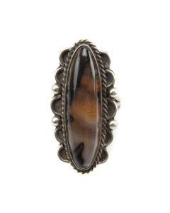 Navajo Petrified Wood and Silver Ring c. 1950s, size 6.5