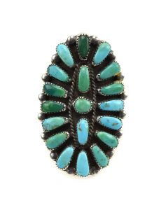 Zuni Turquoise Petit Point and Silver Ring c. 1940s, size 8.5