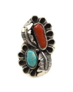 Navajo Turquoise, Coral and Silver Overlay Ring with Feather Design c. 1950s, size 8.5