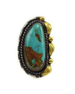 Navajo Turquoise and Silver Ring with Gold Colored Design c. 1960s, size 8