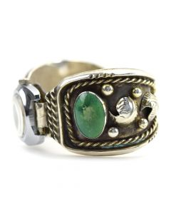 Navajo Turquoise and Silver Watchband c. 1960s, size 6.5 (J10277)1