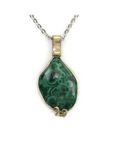 """Mexican Malachite and Silver Pendant with Silver Chain c. 1960s, 24"""" length"""