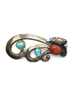 """Navajo Turquoise, Coral and Silver Pin with Feather Design c. 1950-60s, 2.5"""" x 1.25"""""""