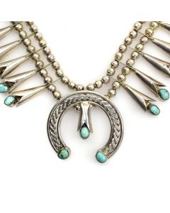 """Navajo Turquoise and Silver Squash Blossom Necklace c. 1960s, 24"""" length, 2.25"""" x 2.5"""" naja 1"""