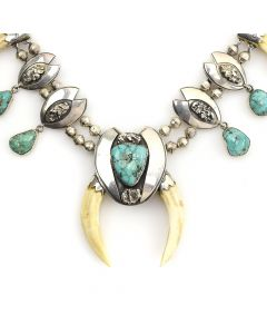 """Alberto Contreras - Mexican Turquoise, Sterling Silver and Bear Tooth Necklace c. 1960-70s, 22"""" length"""