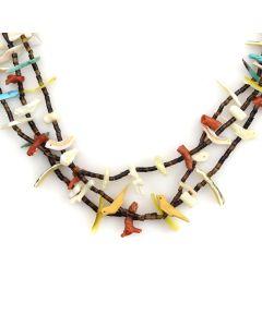 "Zuni Three-Strand Multi-Stone Fetish and Heishi Necklace c. 1960-70s, 25"" length"