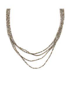 """Santo Domingo Four-Strand Heishi Necklace c. 1960s, 27"""" length"""