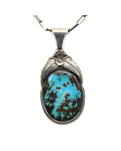 """Navajo Turquoise Pendant with Feather Design and Handmade Silver Chain c. 1960s, 21"""" length, 3.75"""" pendant1"""