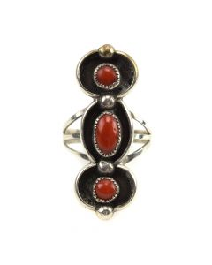 Navajo Coral and Silver Overlay Ring c. 1960s, size 8