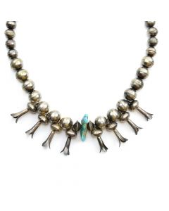 "Navajo Turquoise Nugget and Silver Necklace with Squash Blossoms c. 1940s, 17"" length"