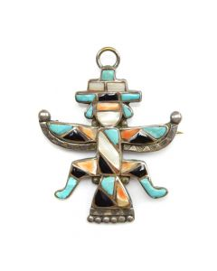 "Zuni Multi-stone Inlay and Silver Knifewing God Pendant/Pin c. 1940s, 2.25"" x 1.875"""