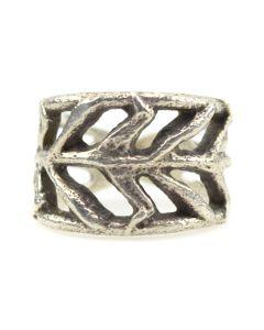 Contemporary Navajo Sandcast Silver Ring, size 9.5