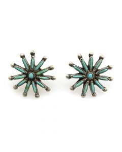 "Zuni Needlepoint Turquoise and Silver Earrings c. 1940s, 1"" x 1"""