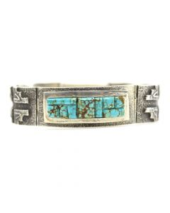 Aaron Anderson - Contemporary Navajo Turquoise and Silver Link Bracelet, size 6.5