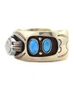 Navajo Turquoise and Silver Overlay Watchband c. 1960s, size 7