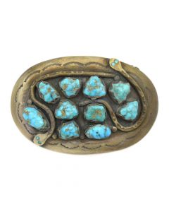 "Effie Calavaza - Zuni Turquoise Cluster and Silver Stamped Belt Buckle with Snake Design c. 1960s, 2.25"" x 3.5"""