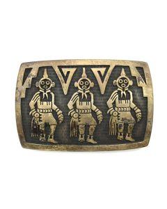 "Alde Qumyintewa (1950-2004) - Hopi Silver Overlay Belt Buckle with Kachina Design c. 1960s, 2"" x 3"""
