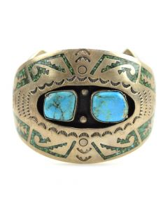Navajo Turquoise and Turquoise Chip Inlay Bracelet c. 1970s, size 6