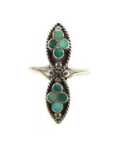 Dishta - Zuni Turquoise Inlay and Silver Ring c. 1950s, size 5.5