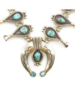 """Navajo Turquoise and Silver Squash Blossom Necklace c. 1960s, 28"""" length, 3"""" x 2.75"""" naja"""