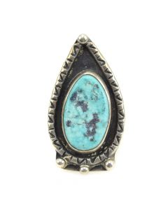 Navajo Turquoise and Silver Ring c. 1960s, size 6 (J10428)1