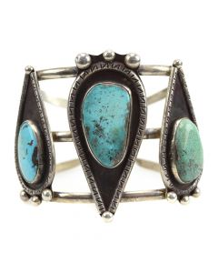 Navajo Turquoise and Silver Bracelet c. 1960s, size 6.75