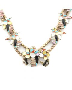"""Zuni Multi-stone Inlay and Silver Hummingbird Necklace c. 1960-70s, 28"""" length"""