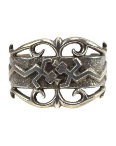 Navajo Silver Sandcast Bracelet with Yei Design c. 1950-60s, size 6.75