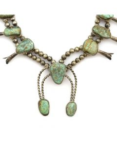 """Navajo Turquoise and Silver Squash Blossom Necklace c. 1950s, 24"""" length"""