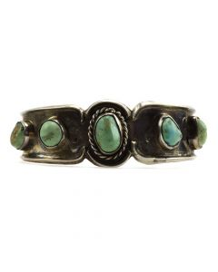 Lot 118 - Navajo Turquoise and Sterling Silver Bracelet c. 1950s, size 6.5 (J10448)