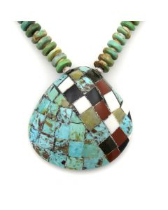 """Santo Domingo Turquoise Beaded Necklace with Multi-Stone Inlay Shell Pendant c. 1960s, 18"""" length"""