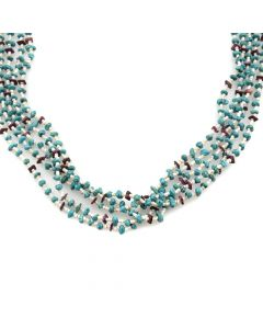 """Santo Domingo Purple Spiny Oyster, Turquoise and Heishi Necklace c. 1980s, 26"""" length"""