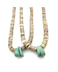 """Navajo Turquoise and Heishi Jocla c. 1960-70s, 16"""""""