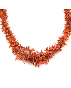 "Navajo Coral Branch Necklace c. 1960s, 22"" length"