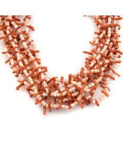 "Navajo Coral and Heishi Necklace c. 1960s, 16"" length"