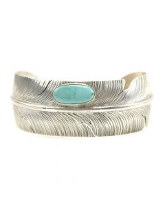 Ben Begaye - Navajo Turquoise and Silver Bracelet with Feather Design c. 1980s, size 6.5