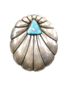 """E. Martinez - Navajo Villa Grove Turquoise and Silver Pin/Pendant c. 1980s, 2.625"""" x 2.125"""""""