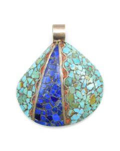 "Priscilla Aguilar - Santo Domingo Multi-Stone Inlay and Silver Shell Pendant c. 1980s, 3"" x 2.75"""