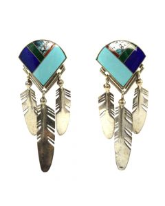 "Ray Tracey - Navajo Multi-Stone and Silver Post Earrings with Feather Design c. 1980s, 2.75"" x 1"""