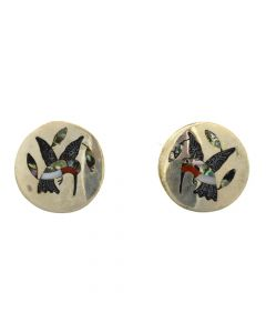 "Dennis Edaakie - Zuni Multi-Stone and Silver Post Earrings with Hummingbird Design c. 1970s, 1"" diameter"
