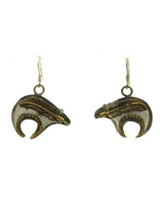 """Norbert Johnson - Navajo Sterling Silver and 12Kt Gold Bear Hook Earrings with Feather Design c. 1980s, 1.375"""" x 1"""""""