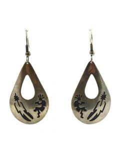 "P. Attakai - Navajo Silver Hook Earrings with Kokopelli and Feather Design c. 1980s, 2.125"" x 1"""