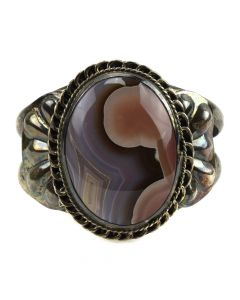 Navajo Agate and Silver Bracelet c. 1950s, size 6